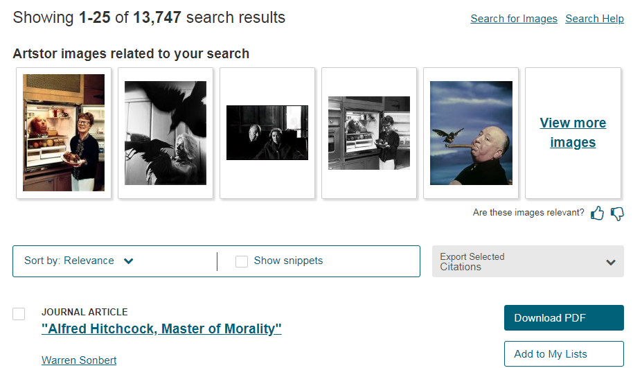 Screengrab of sample JSTOR image search
