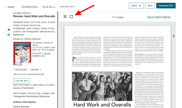 screen capture of the full view option on JSTOR