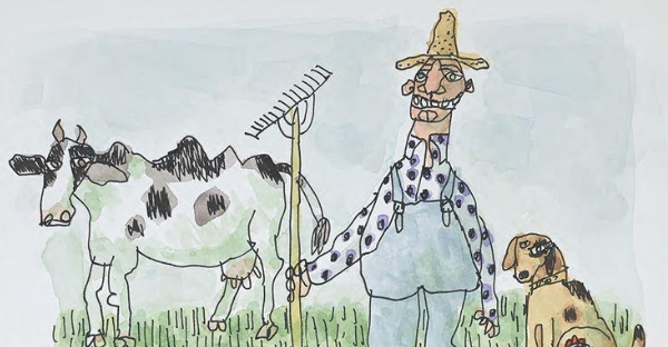 Cartoon drawing of farmer and animals by William Steig
