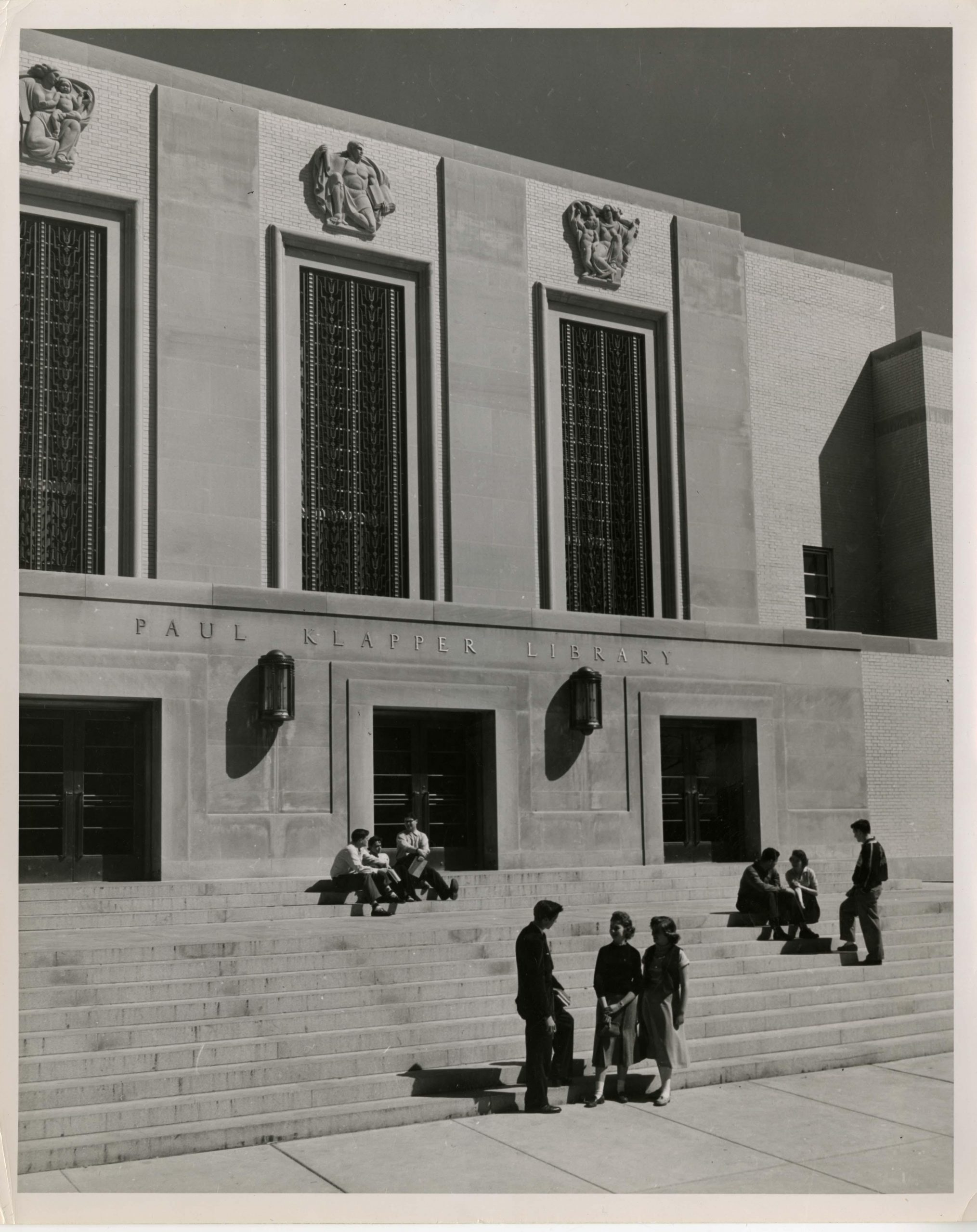 Photograph of the exterior of Paul Klapper Library