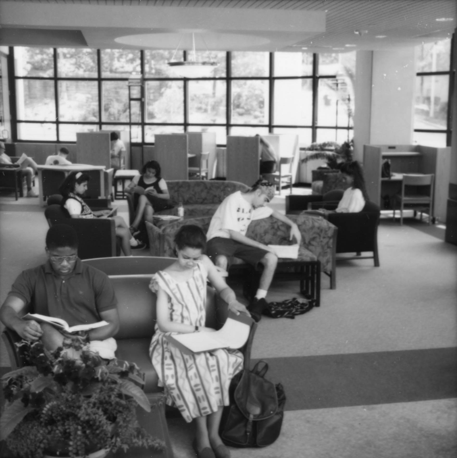 Photograph of students studying in the Pro Deo Room of the Weinberg Memorial Library (1993)