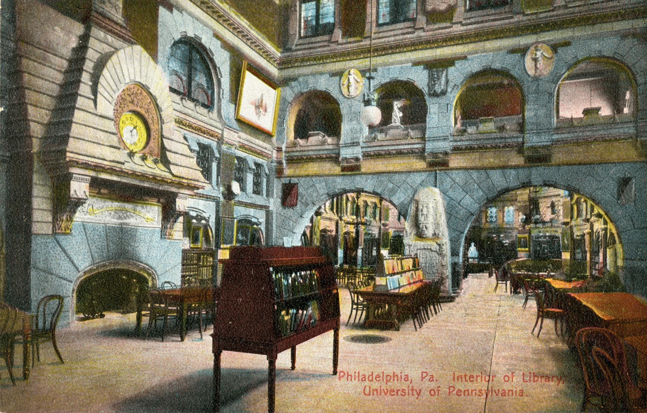 Postcard of of the interior view of the reading room at University Library, now Anne and Jerome Fisher Fine Arts Library